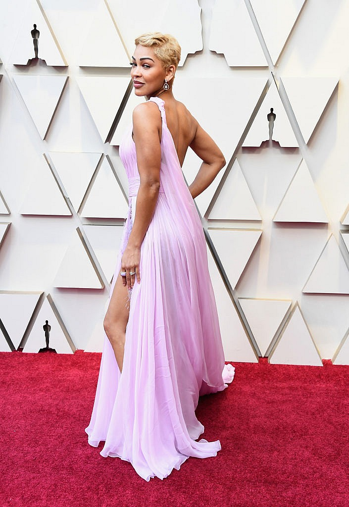 Meagan Good in a pink, asymmetrical Georges Chakra gown